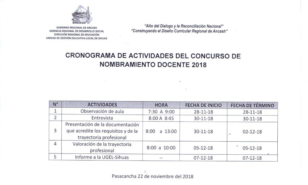 """Cronograma de Evaluaciónde la Institución Educativa """"JOSÉ MARIA EGUREN"""" – PASACANCHA"""