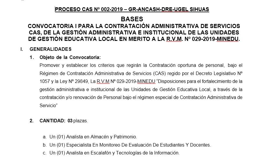 PROCESO CAS SEDE Nº 002-2019-UGEL/SIHUAS – CONVOCATORIA I